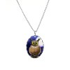 Owl necklace oval charm